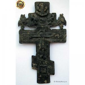 3.37 Медный крест Распятие Христово с херувимами, 19в.