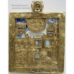 3.3 Медная икона Явление Богородицы Преподобному Сергию
