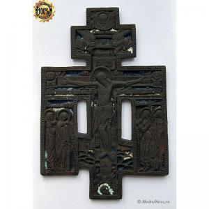 3.3 Медный крест Распятие Христово с предстоящими,19в.