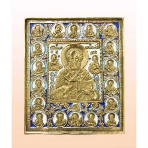 3.41 Медная икона Николай Чудотворец, избранные святые