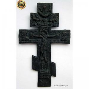 3.44 Медный киотный крест Распятие Христово, 19в.