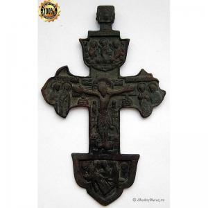 3.46 Наперсный бронзовый крест Распятие Христово, 18в.