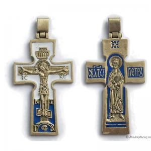 4.1.9 Медный нательный крест Распятие Христово-Святой Петр