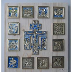 Современные врезные бронзовые иконы (ставротека-иконостас) №2