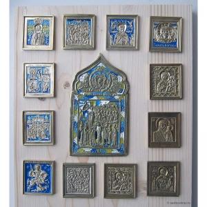 Современные врезные бронзовые иконы (ставротека-иконостас) №4