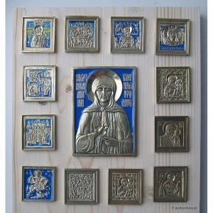 Современные врезные бронзовые иконы (ставротека-иконостас) №5