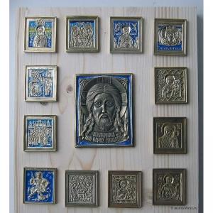 Современные врезные бронзовые иконы (ставротека-иконостас) №7