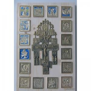 Современные врезные бронзовые иконы (ставротека-иконостас) №8