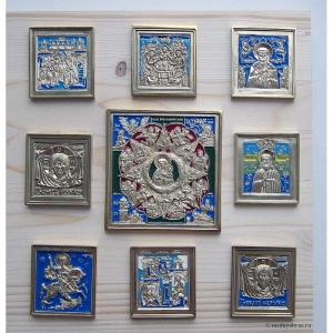 Современные врезные бронзовые иконы (ставротека-иконостас) №11