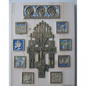 Современные врезные бронзовые иконы (ставротека-иконостас) №12