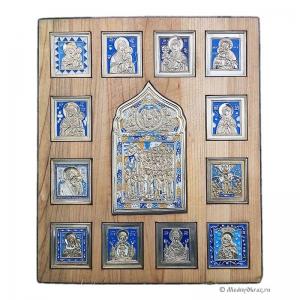 Ставротека с медными иконами Покров Богородицы и образы Богомате